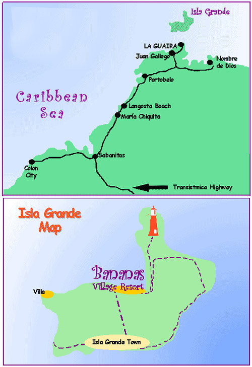 isla grande bananas map
